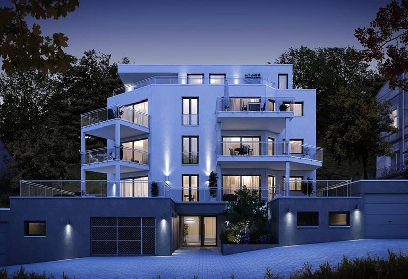Neubauprojekt Langenberg außen abends